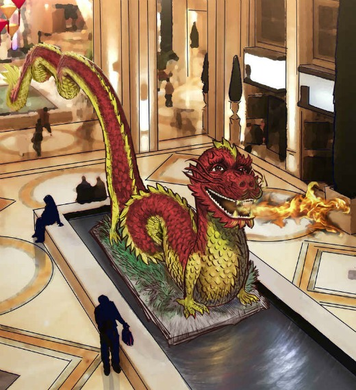Rendering of the dragon in The Palazzo's Waterfall & Atrium Gardens, Rendering Credit: TKOart