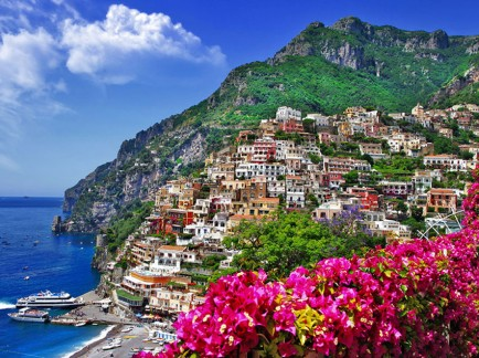 Golden Italian Seaside Charm in Postiano Amalfi Coast Italy cover