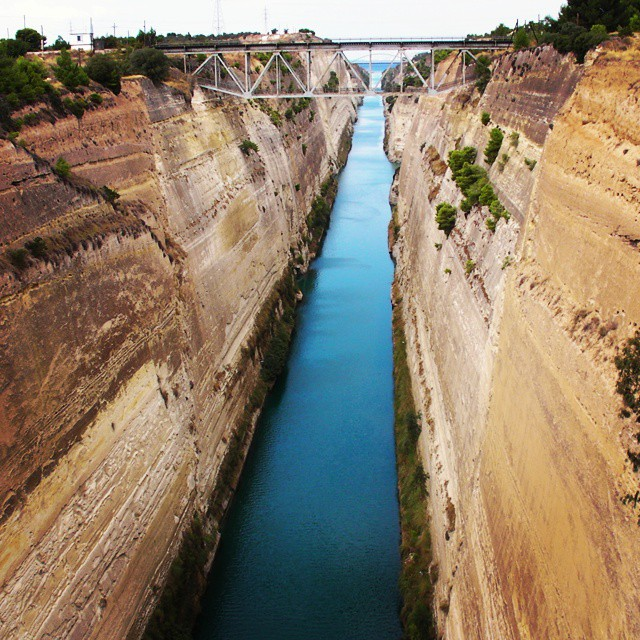 One of the coolest canals to take a #yacht this summer.  #corinthcanal #greece  #yachting #boating #travelling #travel #travelbug